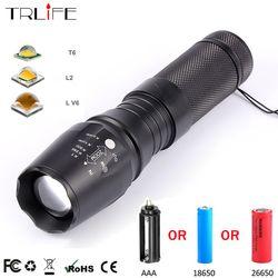 10000 Lumens Senter LED V6 L2 T6 Zoom Flash Cahaya Super Terang Troch untuk Petualangan Berkemah Malam 18650 26650 Li-ion baterai