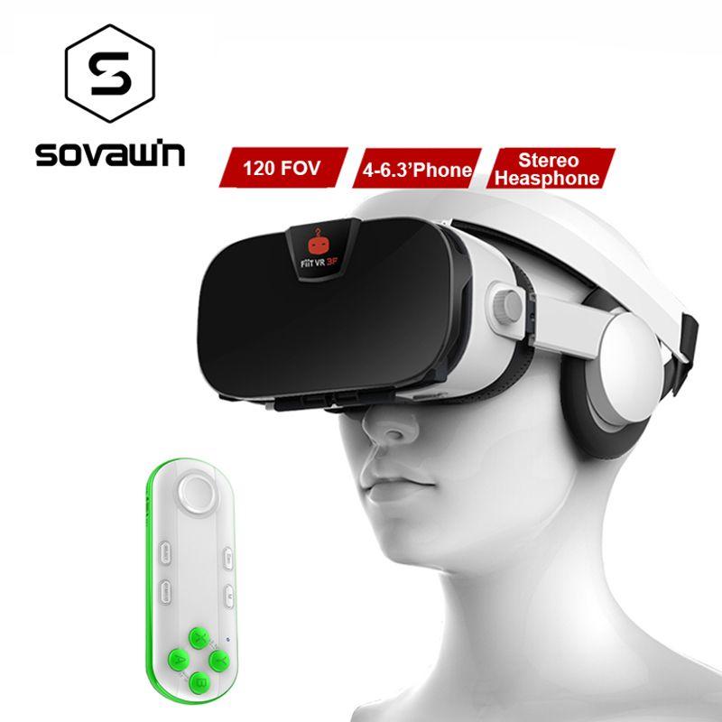 Fiit 3F 112FOV Virtual Reality Googles VR 3D Glasses Headset VR BOX Helmet Cardboard 42mm Lenses + Gamepad for 4-6.4'Phone