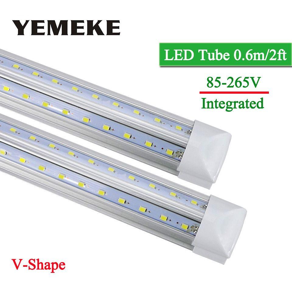 V-Shape Integrated LED Bulbs Tubes T8 600mm 2Feet 20w Led Tube Light AC85-265V 96LED SMD2835 270 Degree Super Bright 2000lm