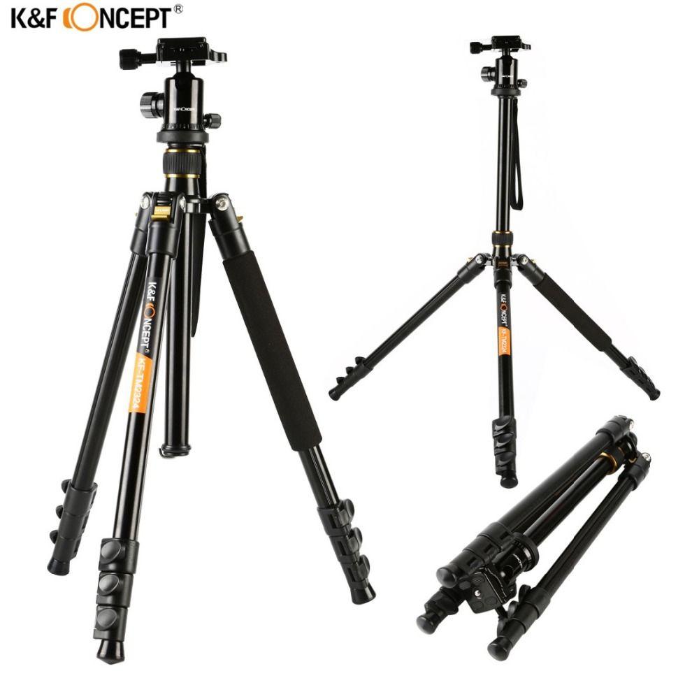 K & F CONCEPT KF-TM2324 Professionnel Numérique/Vidéo Caméra Trépied Portable 4-Sections Trépieds Avec Rotule + sac Pour Canon Nikon