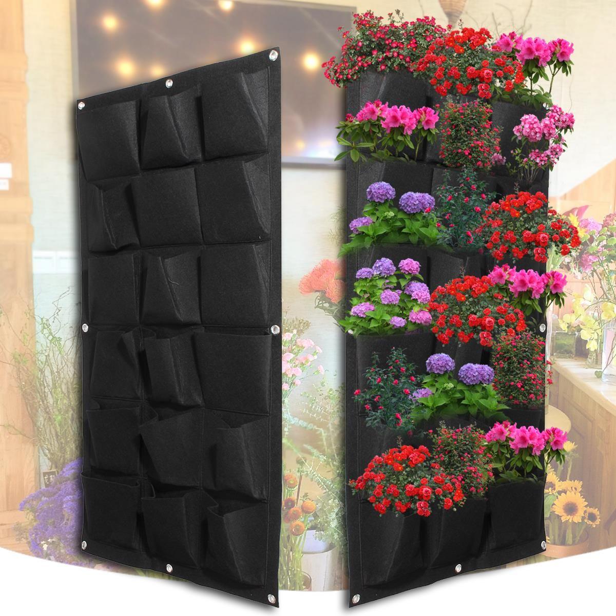 Plantation Sacs 18 Poches Pot Noir Suspendus Planteur De Jardin Vertical Mur Fleur Accueil Intérieur Extérieur Balcon Jardinage Semis