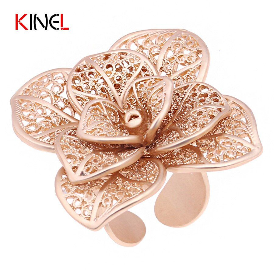 2017 New Fashion Vintage Big Flower Rings For Women Gold Colour Antique Jewelry Female Charm Adjustable Ring Dropshipping