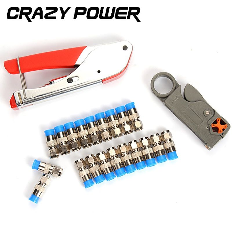 Crazy Power Coaxial Cable Wire Stripper RG6/RG59 Compression F Connector Tool Crimping Pliers Wire Stripping Pliers Kit AMH143