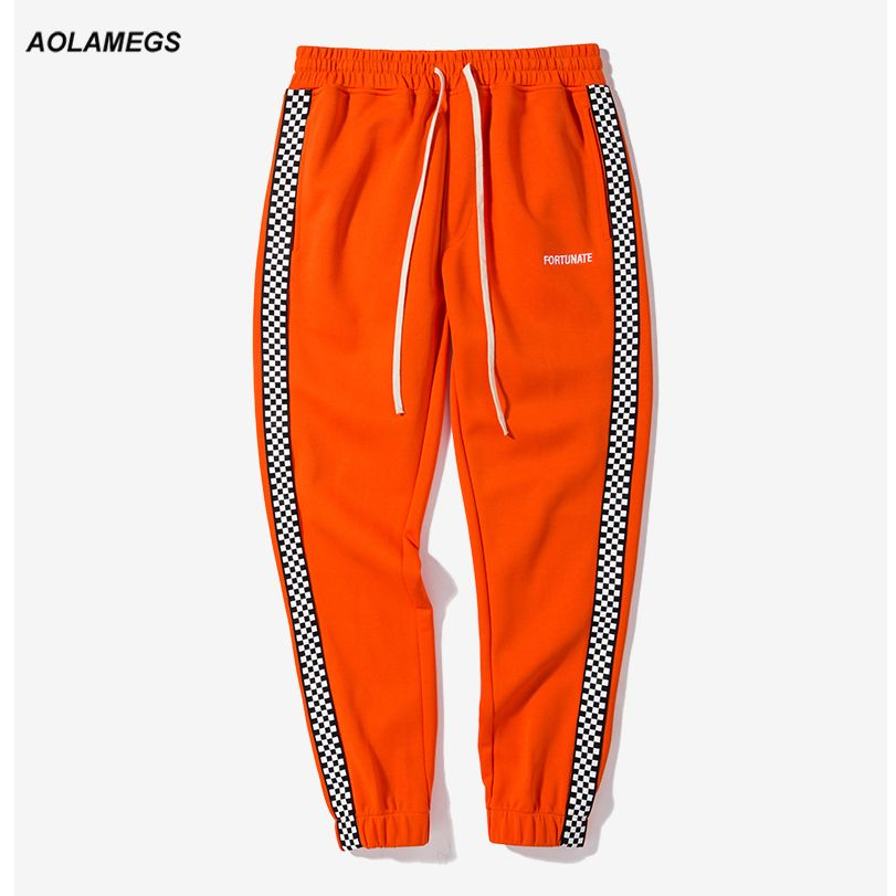 Aolamegs Men casual track pants black white plaid side stripe vintage jogger pants high street male sweatpants leisure trousers