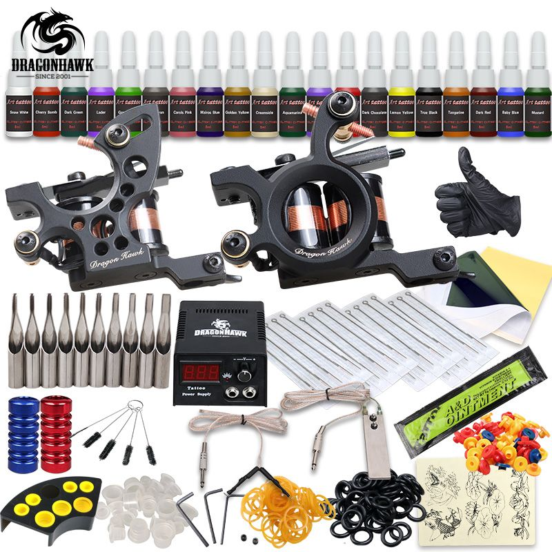 Professional Tattoo Kit 2 Machine Gun 20 Color Inks Power Supply Complete Tattoo Kits