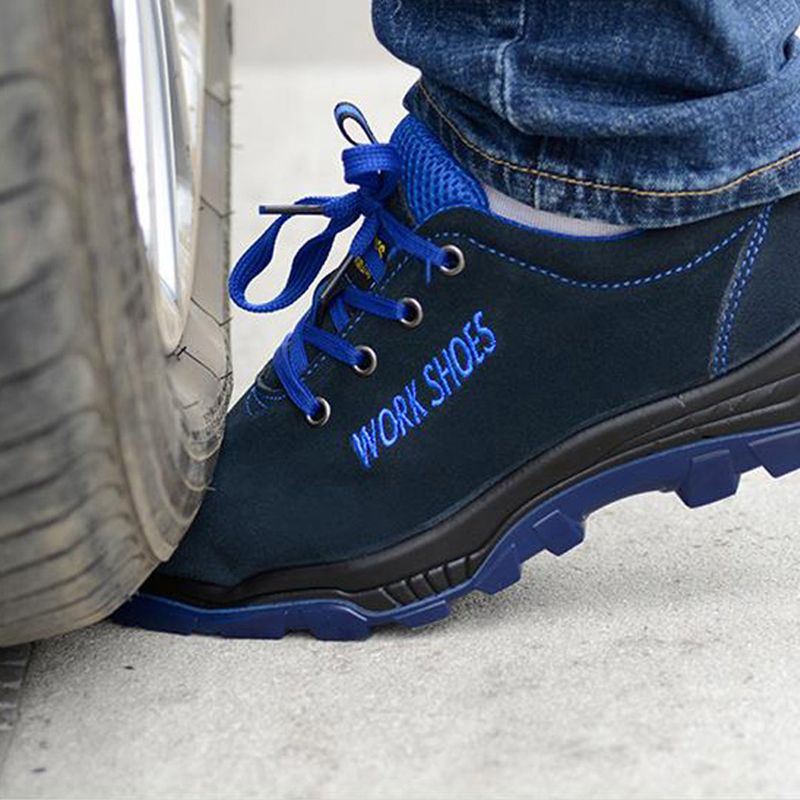 Men Work Breathable Safety Shoes Steel Toe Casual Boot Puncture Proof Labor Insurance Shoes Puncture Proof Midsole Slip Light