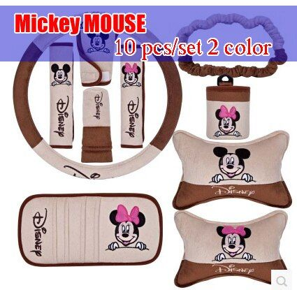 10 pcs/set 2 color for Mickey MOUSE pattern car accessories car accessories decoration set handbrake cover safety belt