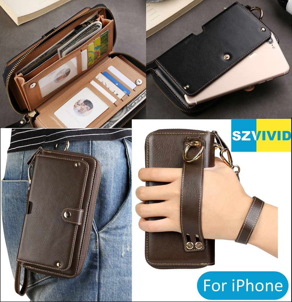 Purse Handbag Wallet Leather Bag For iPhone X 8 7 6 Plus Clutch Wristlet Waist Phone Bags Pouch Case