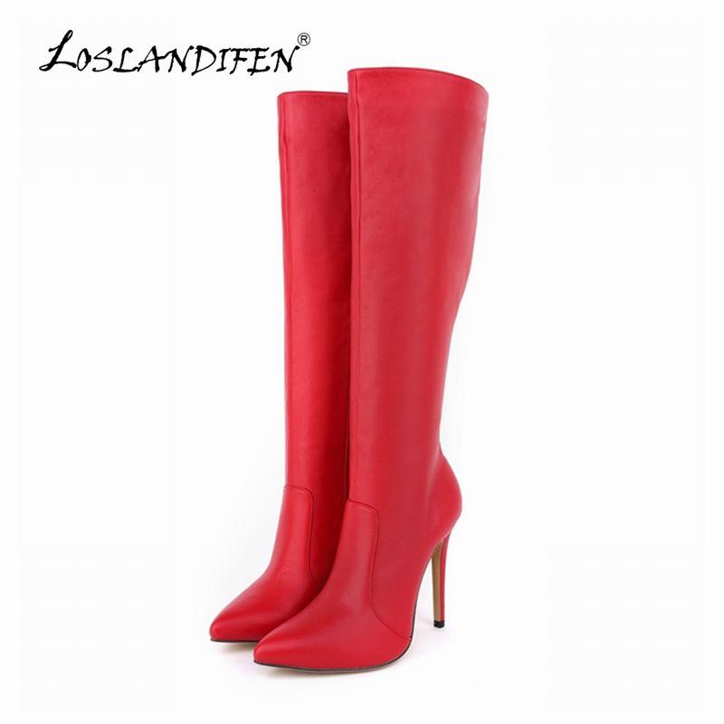 Loslandifen женские на платформе матовая Высокие каблуки кожаные сапоги до колена широкие брюки стрейч Сапоги и ботинки для девочек зима-осень О...