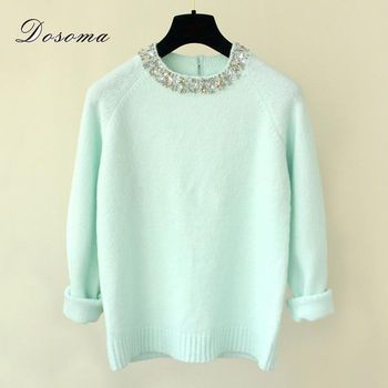 2017 Winter Women Sweaters Pullovers Shiny Crystal Beading O-neck Knitted Sweaters Women Elegant Casual Pullovers Warm Knitwear