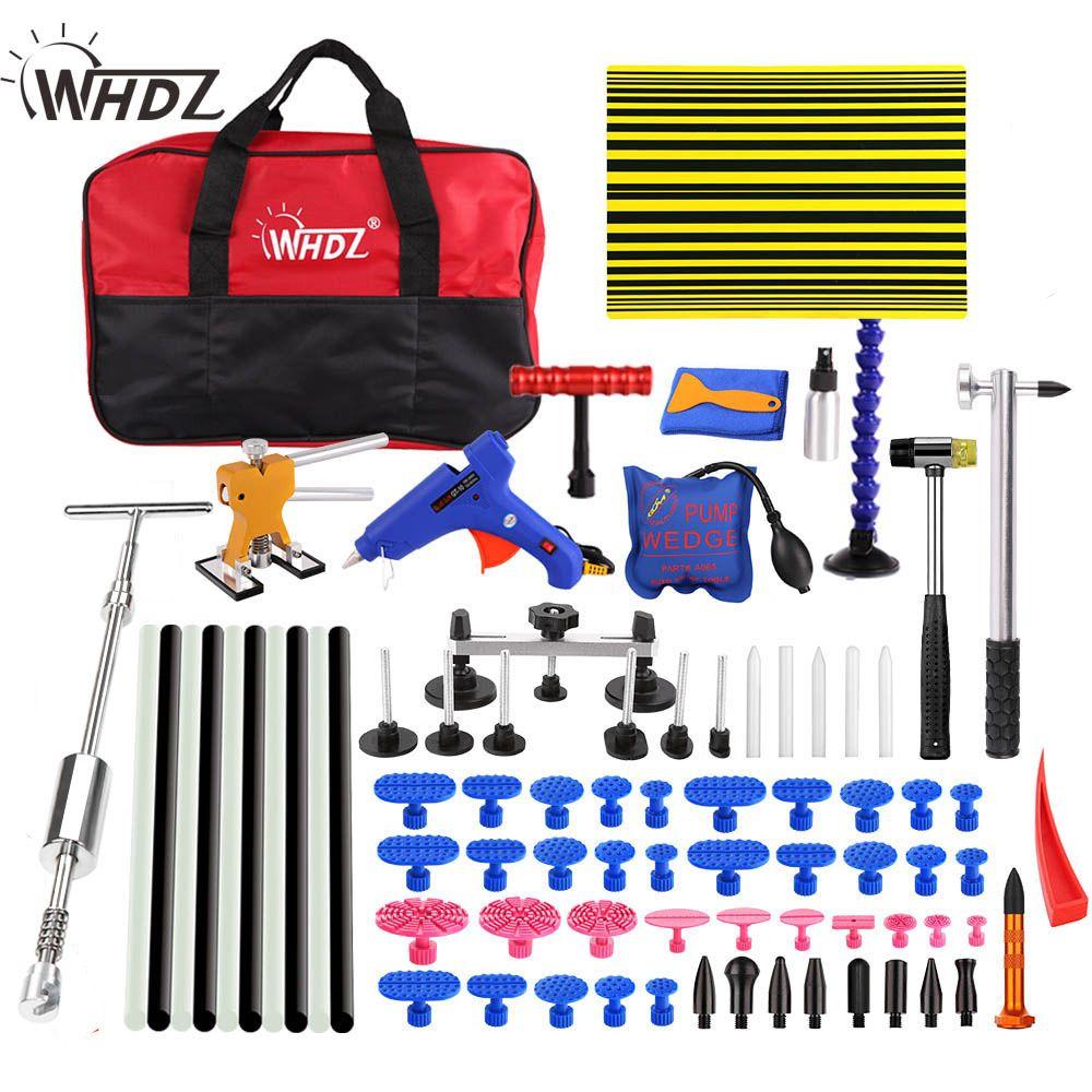 WHDZ Car Paintless Dent Repair Removal Hand Tool Set Reflector Board dent puller 2in1 Slide Hammer glue gun pump wedge tools kit