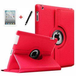 Pour ipad 2 3 4 Tablet Case 360 Degrés de Rotation PU en cuir Stand Flip Folio Couverture de Protection D'écran pour ipad 3 Smart cas + film + Stylo