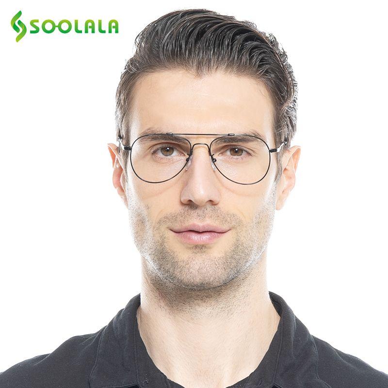 SOOLALA rétro mémoire métal cadres lunettes de lecture pour hommes femmes personnalisé myopie lunettes lecteur + 1 + 1.5 + 2 + 2.5 + 3