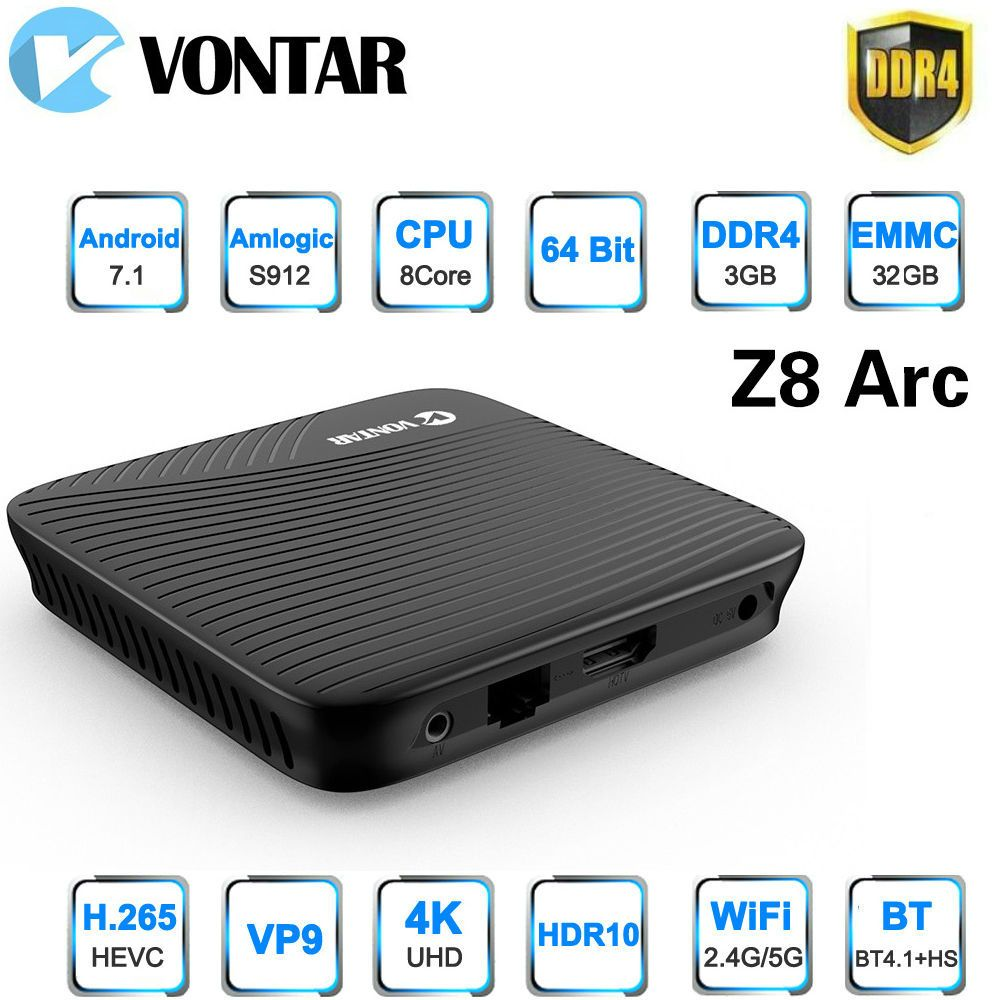 Vontar Z8 Arc 3G/32G DDR4 TV BOX Amlogic S912 Android 7.1 TV BOX OctaCore 4K Smart Media Player 2.4G/5.8GHz Dual WIFI BT4.1
