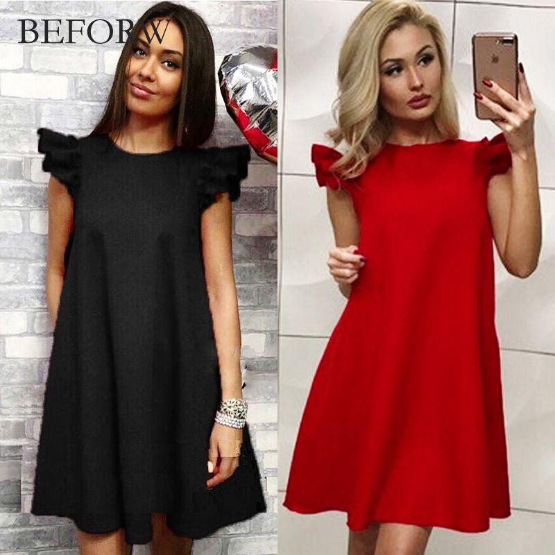 BEFORW Femmes Robe D'été Printemps Lotus Feuille Manches Lâche Robe mode Casual O Cou Rouge Blanc Noir Robes Pour Femmes robes