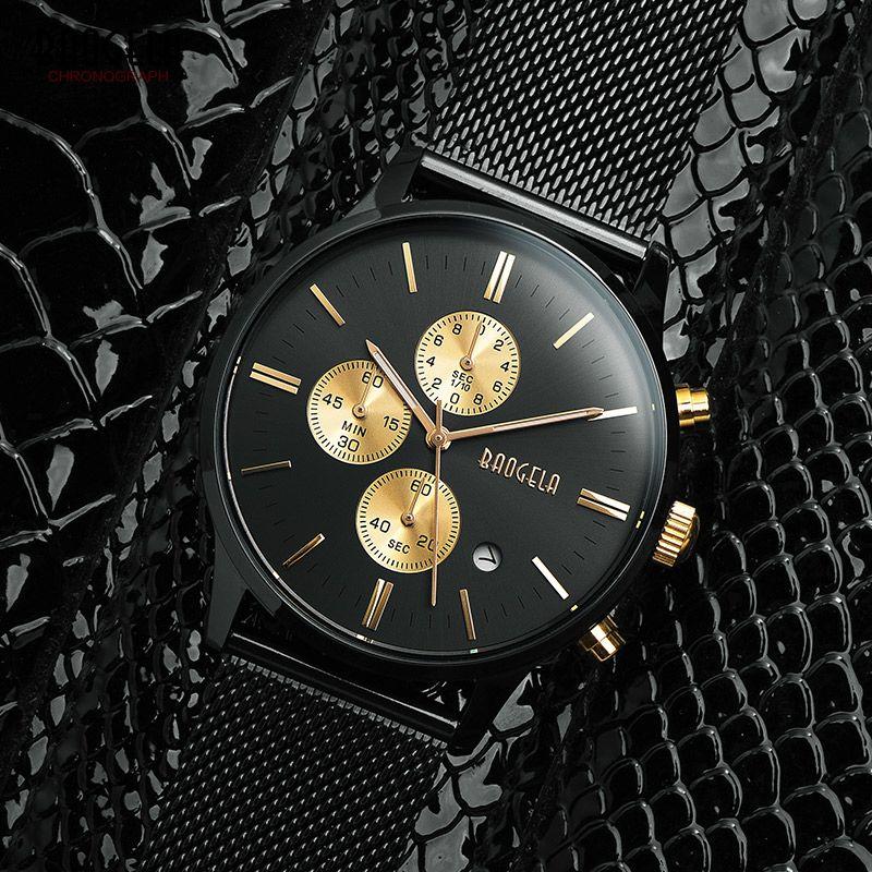 Baogela Mens Chronograph Black Stainless Steel Mesh Strap Military Sport Quartz Wrist Watches with Luminous <font><b>Hands</b></font> 1611G