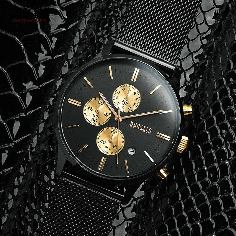 Baogela Mens Chronograph Black Stainless Steel <font><b>Mesh</b></font> Strap Military Sport Quartz Wrist Watches with Luminous Hands 1611G