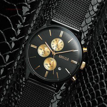 Baogela Mens Chronographe Noir En Acier Inoxydable Maille Bracelet Militaire Sport Bracelet À Quartz Montres avec Lumineux Mains 1611g
