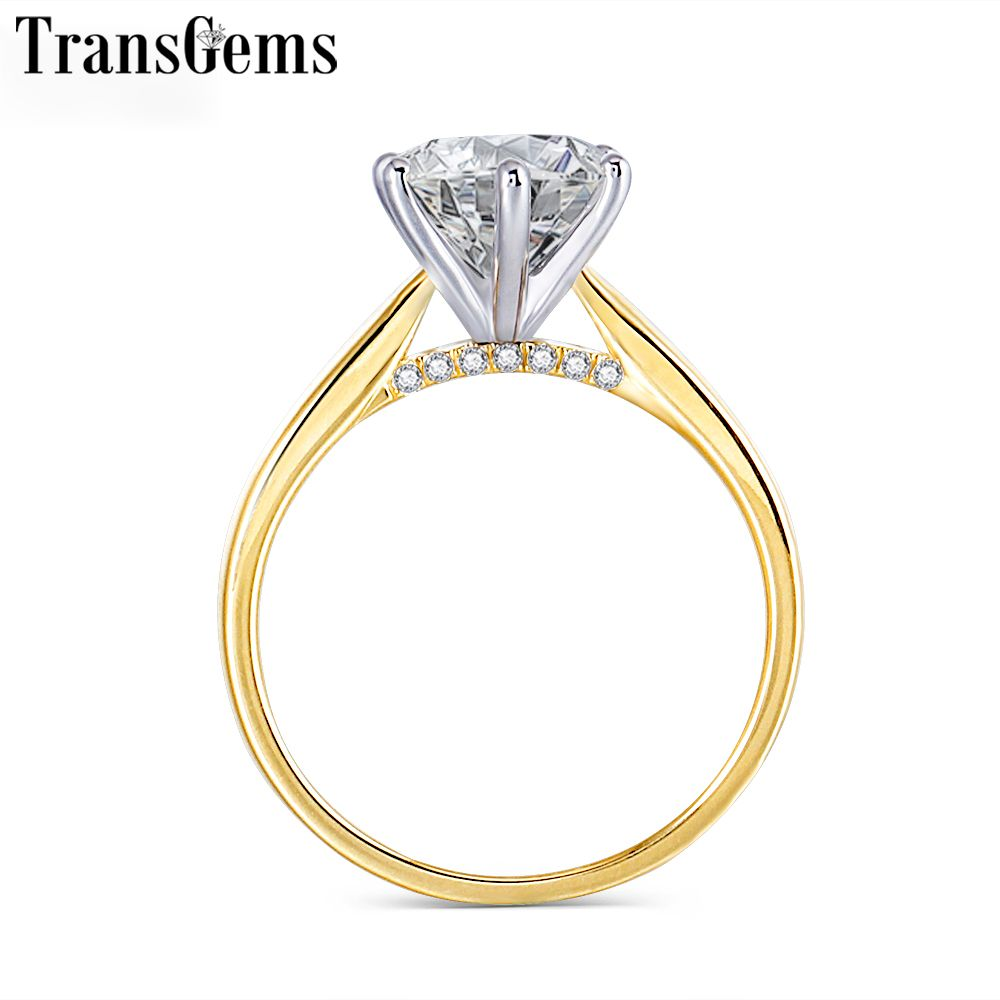 Transgems 14K 585 Two Tone Gold Moissanite Engagement Ring for Women Center 2ct 8mm F Color VVS Moissanite Gold Ring with Accent