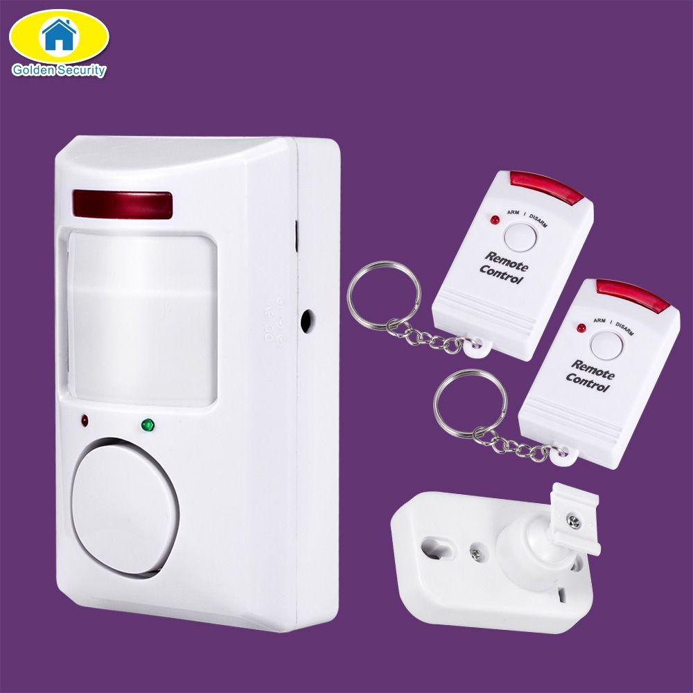Oro portable seguridad 105db PIR detector de movimiento infrarrojo antirrobo detector de movimiento inicio Alarmas de seguridad sistema 2 controladores