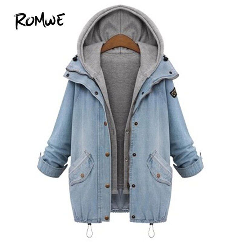 ROMWE Hooded Drawstring Boyfriend Trends Jean Swish Pockets Two Piece Coat 2018 Blue Long Sleeve Single Breasted Denim Jacket