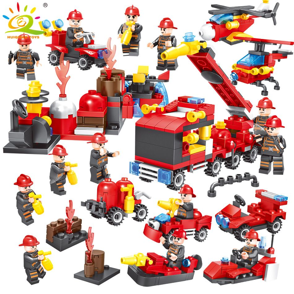 376pcs 8in1 Fire truck Firefighter City rescue Helicopter Building Blocks Compatible Legoed city Educational Bricks children Toy