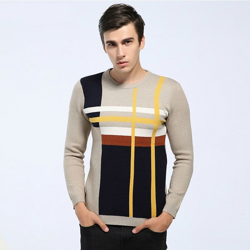 New Fashion Knitwear Men's Striped Sweater Casual Wear Winter Warm Fleece Wool Thicken Striped Mens Sweater Asia Size M~XXL