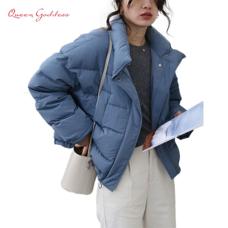 2018 Spring and Autumn young girl popular casual loose style short type 90% white duck down jacket stand collar outwear