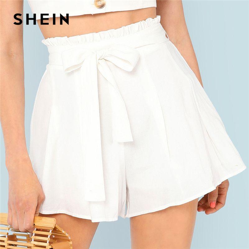 SHEIN White Vacation Boho Bohemian Beach Frill Waist Boxed Pleated Mid Waist <font><b>Belted</b></font> Shorts Summer Women Casual Shorts