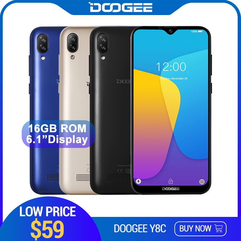 DOOGEE Y8c Android 8.1 6.1 pouces 19:9 Waterdrop écran Smartphone MTK6580 1 GB RAM 16 GB ROM 3400 mAh double SIM 8MP + 5MP WCDMA