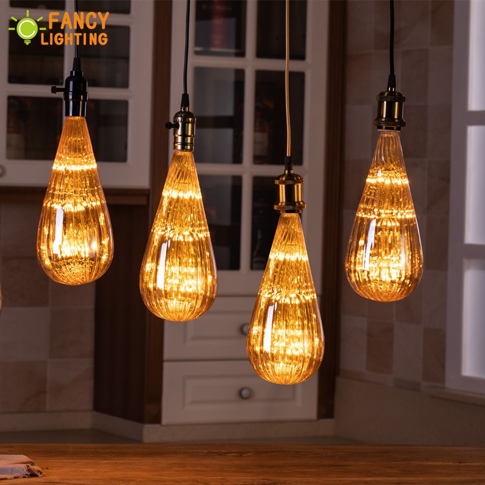 Aluminum pendant lamp+E27 Zucchini Starry Sky Bulb 90-260V vintage light for home/living room/bedroom decor luminaire suspendu