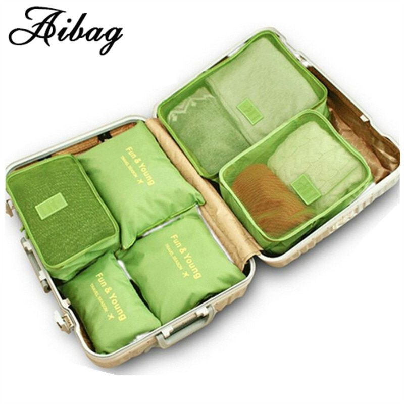 AIBAG 6pcs/set Luggage bag Double Zipper Waterproof Polyester Men Women Travel classification Bags packing cube Compression