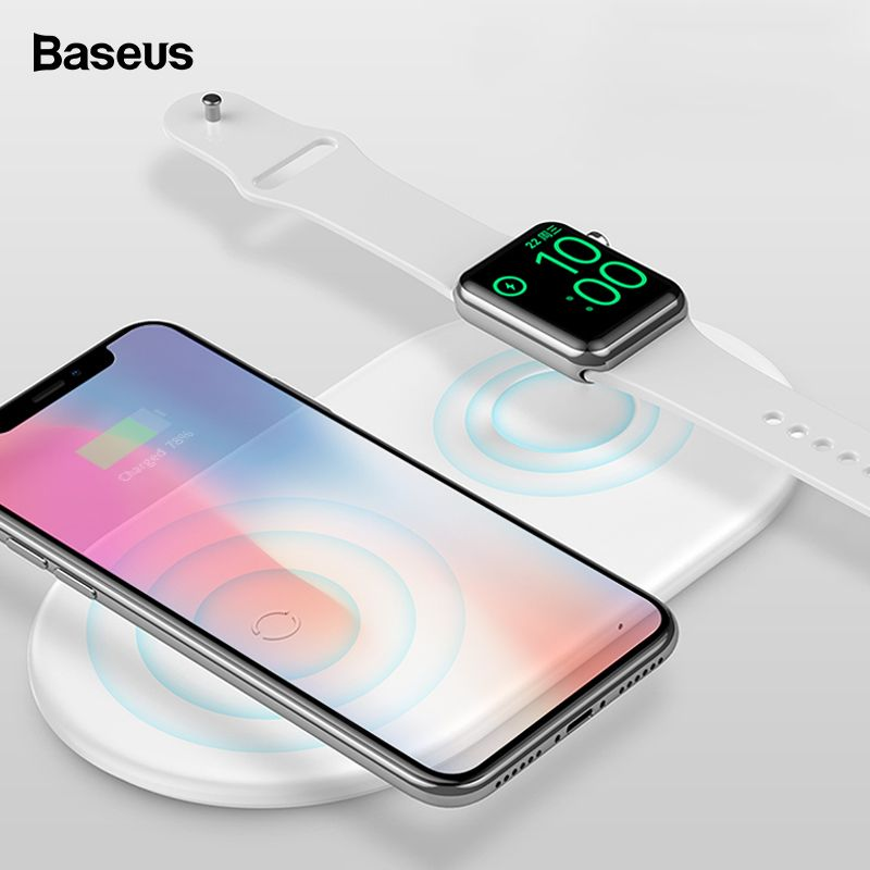 Baseus 2 in 1 Qi Wireless Charger For iPhone XS Max XR X 8 Samsung 10W Fast Wireless Charging Pad For Apple i Watch 3 2 Chargers