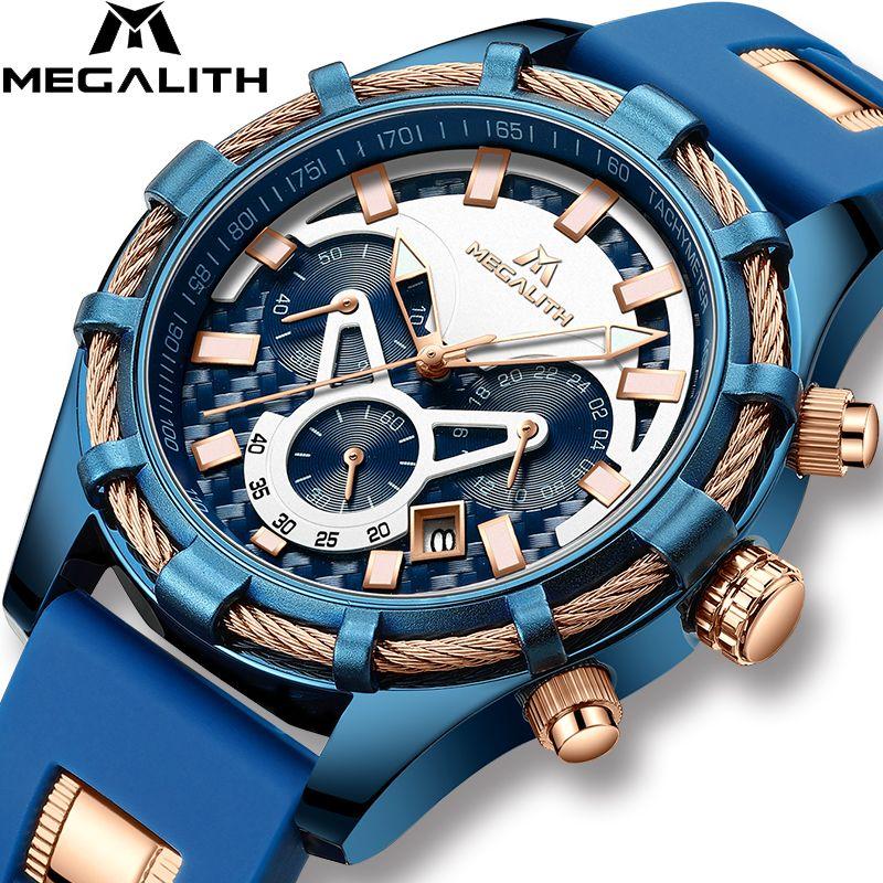 MEGALITH hommes montres Top marque affichage lumineux de luxe étanche montres Sport chronographe Quartz montre-bracelet Relogio Masculino