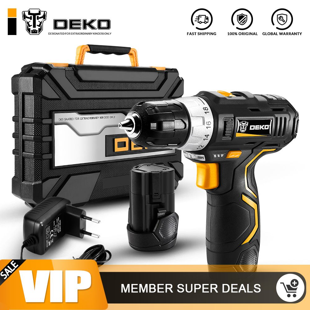 DEKO GCD12DU3 12 V Max Electric Screwdriver Cordless Drill Mini Wireless Power Driver DC Lithium-Ion Battery 3/8-Inch 2-Speed