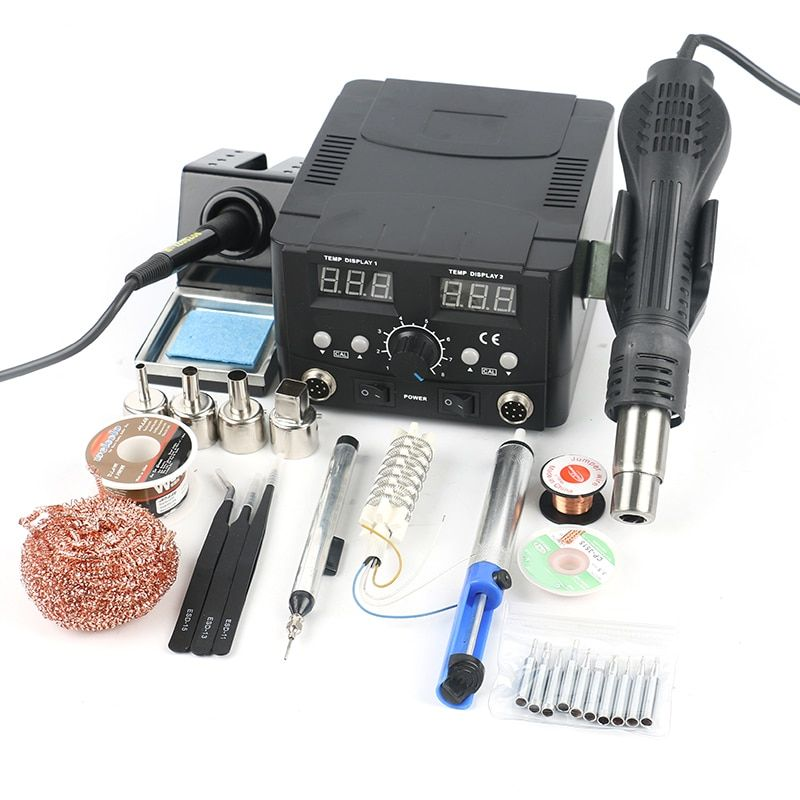 2 IN 1 LED Digital Soldering Station Hot Air Gun Rework Station Electric Soldering Iron For Phone PCB IC SMD BGA Welding Set