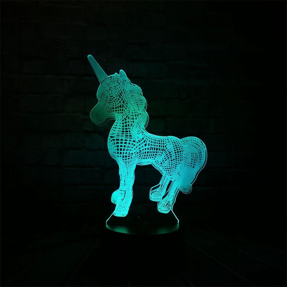 2018 NOUVEAU Animal Kawaii Licorne 3D LED LAMPE NUIT LUMIÈRE Multicolore RGB Ampoule De Noël Décoratif Cadeau de Bande Dessinée Jouets Luminaria LAVE