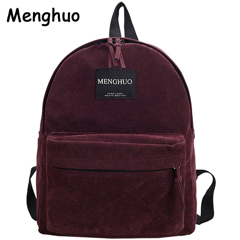 Women Backpack Preppy Suede Backpacks Girls <font><b>School</b></font> Bags Vintage Backpack Travel Bag Female Backpack Burgundy Gray Black Mochila