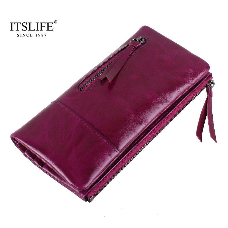 Nouveau Vintage long portefeuille en cuir véritable femmes double portefeuille avec fermeture à glissière poche à monnaie en cuir de cire à l'huile de mode sac à main