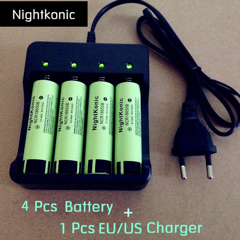 Nightkonic (4 pièces/LOT 18650 batterie + 1 pièces 2/4 emplacement UE/US Chargeur) li-ion 3.7 V batterie rechargeable Flat top 18650B