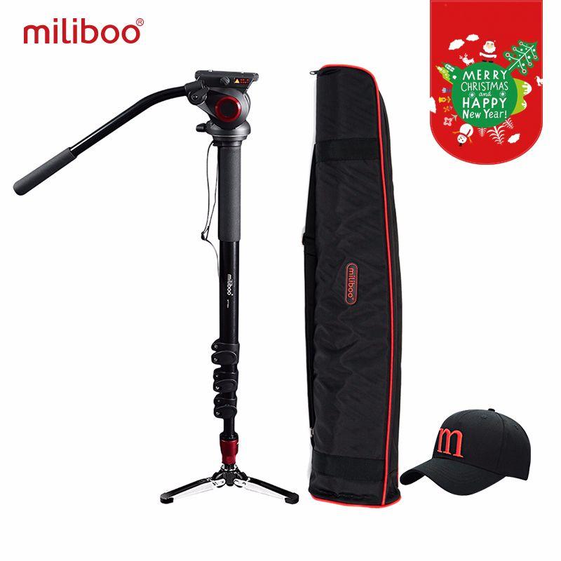 Miliboo Professionnel En Aluminium caméra portable monopode avec Hydraulique Tête tripode Unipod avec 1/4, 3/8 voyage à vis