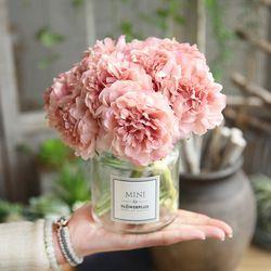 Flores artificiales Peony Bouquet para la decoración de la boda 5 cabezas peonías flores falsas decoración hortensias seda flor barato