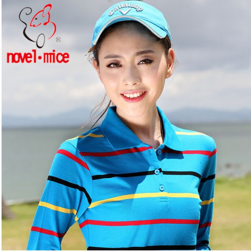 High Quality Autumn and winter Casual Women Polos Brand Shirt Striped Slim Long Sleeve Polo Shirts For Feminina Plus Size 25803