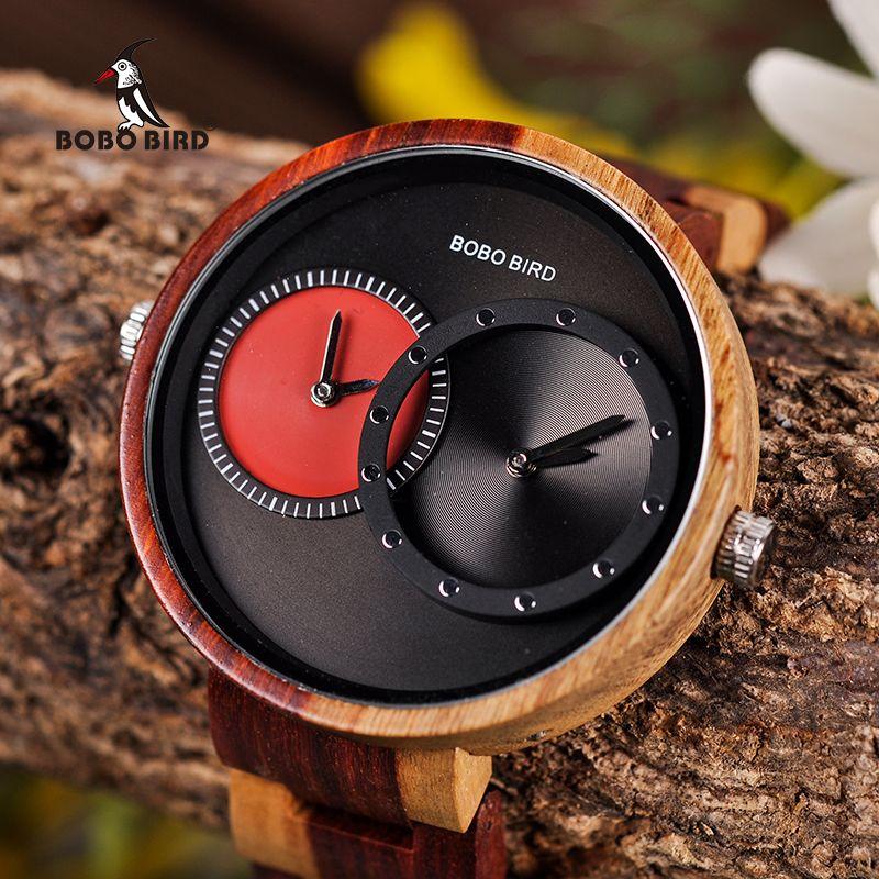 Multiple Time Zone BOBO BIRD Wooden Watch Men Women Fashion Stylish Wood Wristwatch Timepiece relogio masculino L-R10