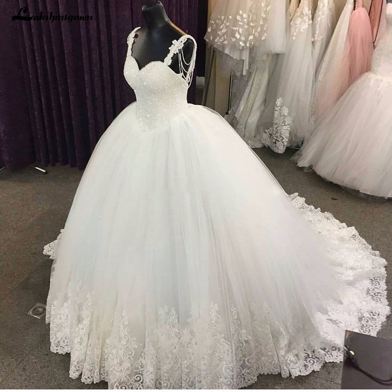 Crystal Lace Applique Luxury Wedding Dresses 2018 Elegant Ivory Cheap Bridal Ball Gown Robe De Mariage