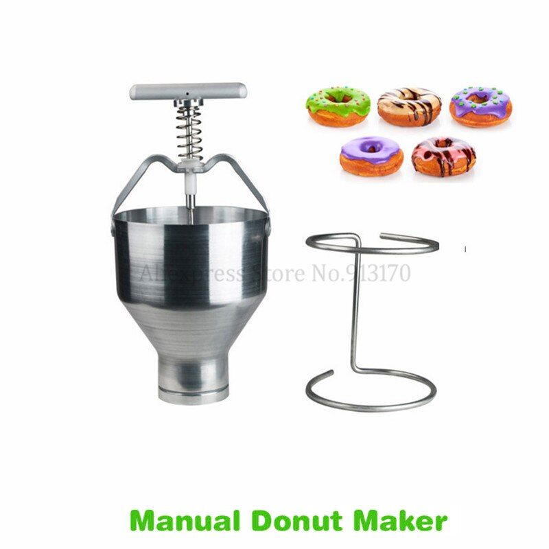 Stainless Steel Hand-operated Cake Donuts Machine Small Doughnut Making Tool Kitchen Appliance 6 Levels Manual Adjustment