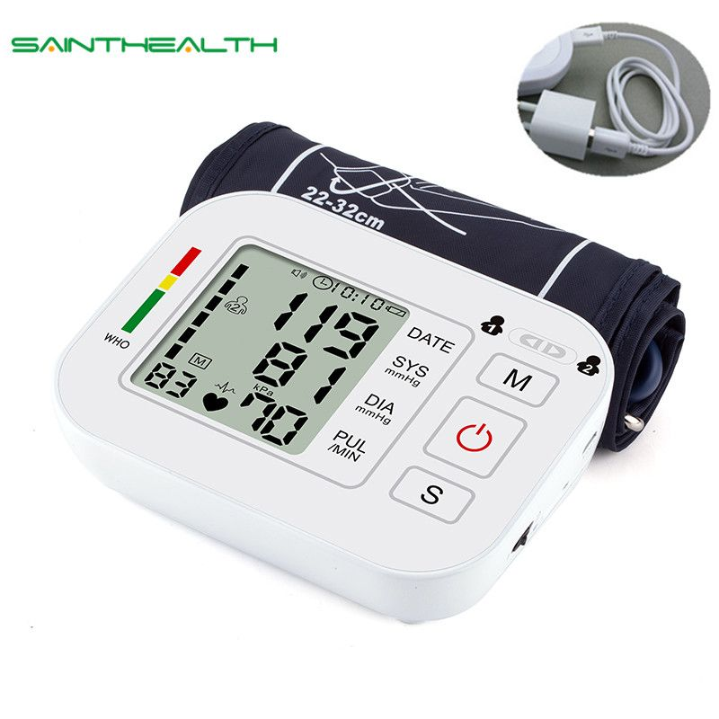Medical Equipment Tonometer Digital <font><b>Upper</b></font> Arm Tensioner Blood Pressure Monitor Measurement Meter Device BP Meter For Measuring