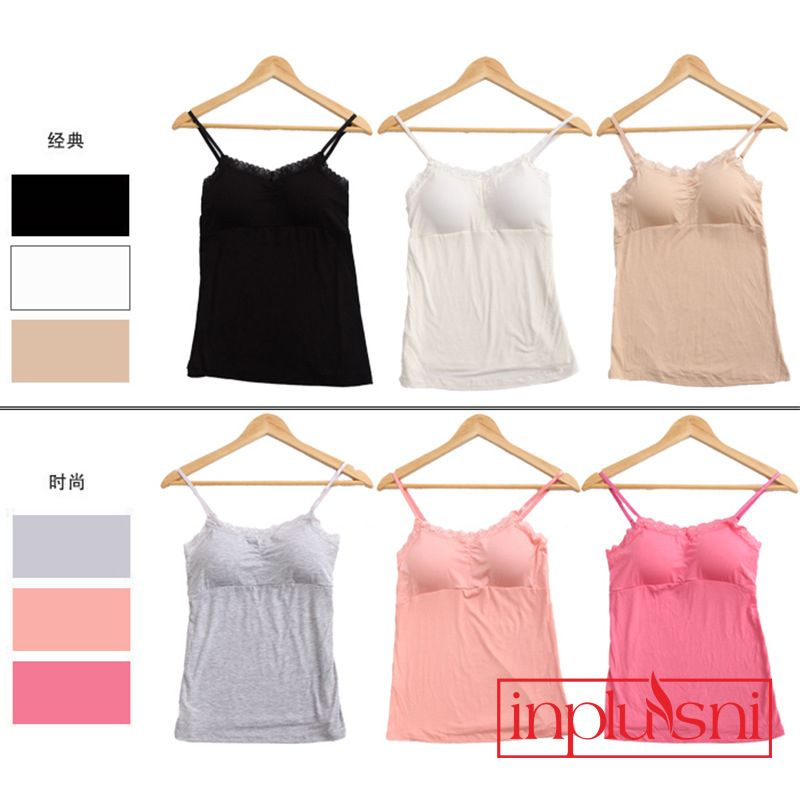 Women's sexy Lace  camisole top modal with padding condole Tanks