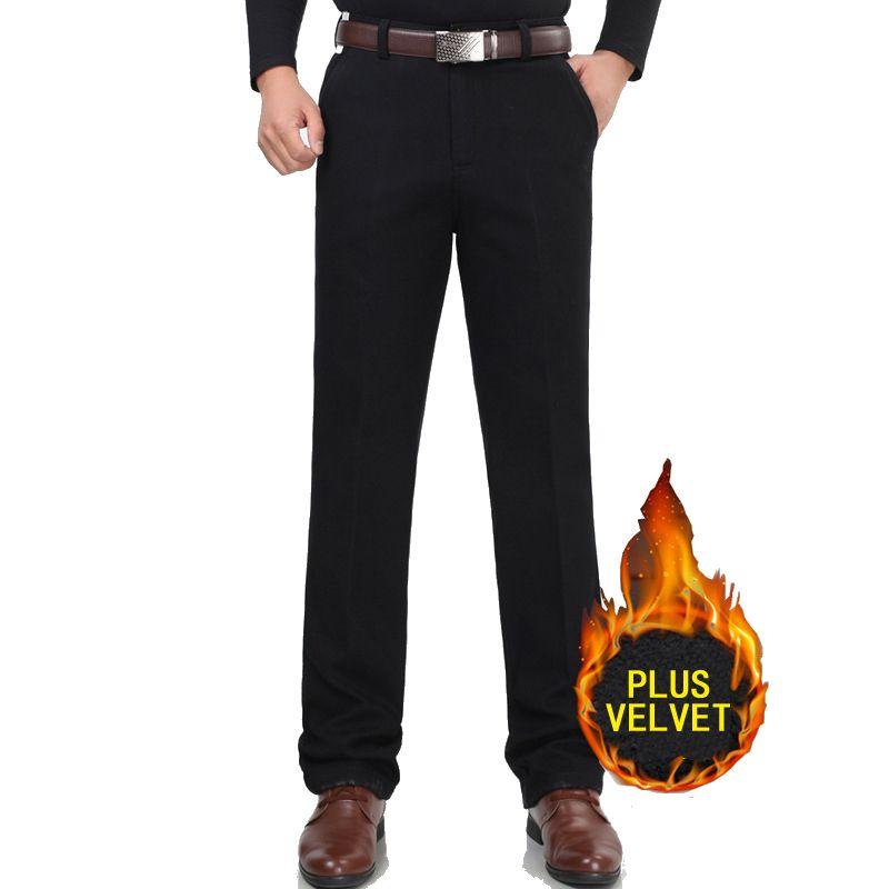 New winter Plus velvet casual pants men trousers business suit pants thick fleece cotton <font><b>loose</b></font> straight trousers keep warm