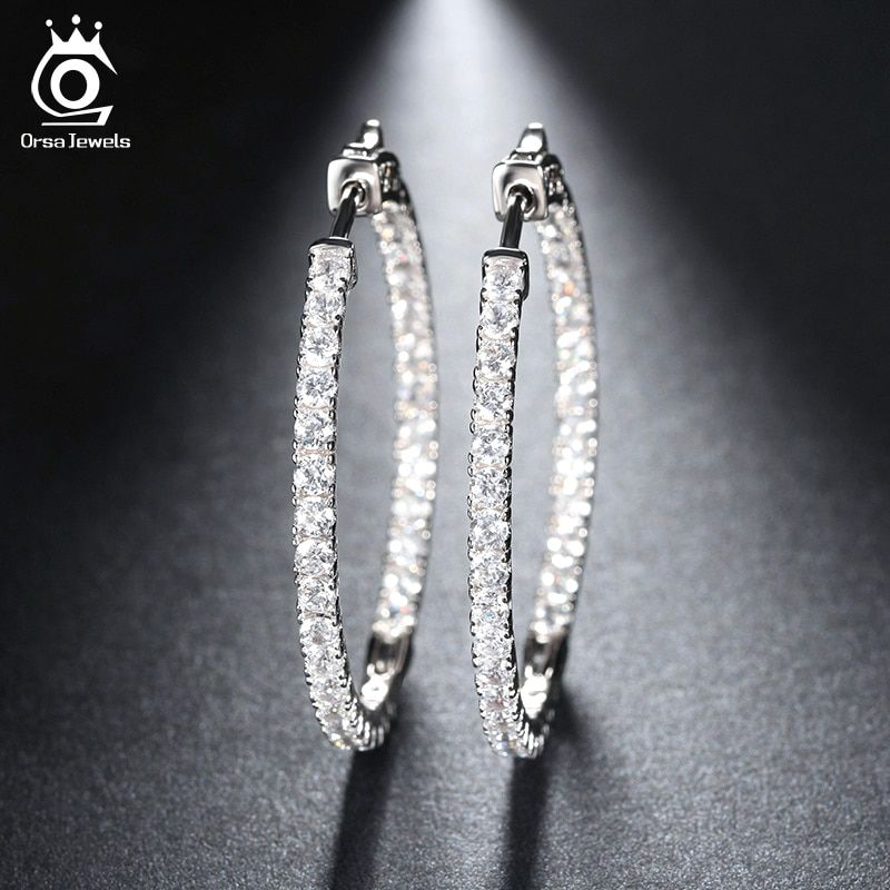 ORSA JEWELS 2017 Silver Color High Polished Hoop Earrings Paved with AAA Austrian Cubic Zirconia for Wedding Party Jewelry OE137